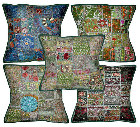 green embroidered cushion cover - jaipur handloom