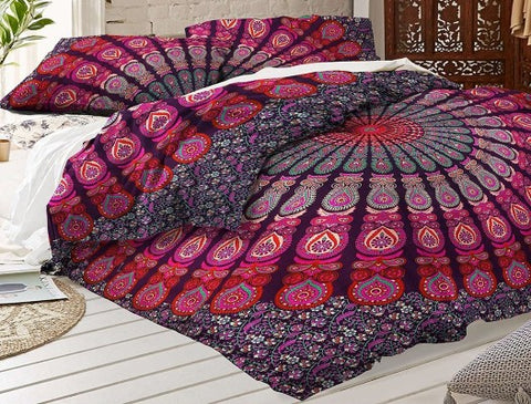 Bohemian Bedding and boho chic decor ideas - jaipur handloom - purple medallion boho bedding