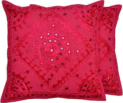 maroon mirror work cushion cover - jaipur handloom