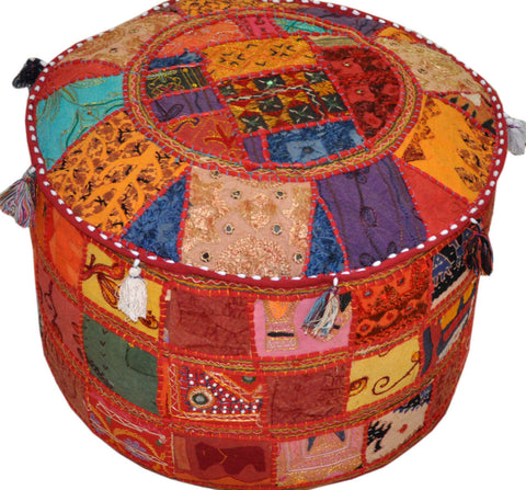 indian embroidered pouf ottoman