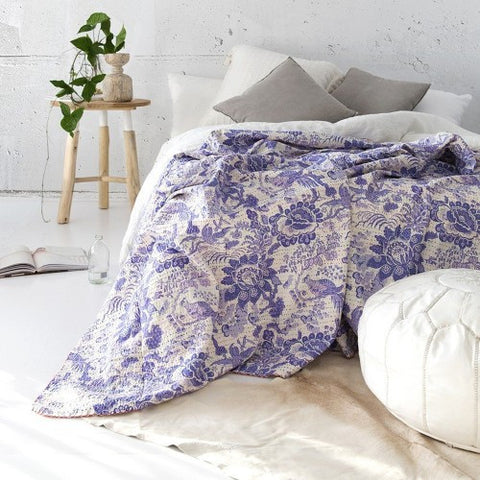 purple floral queen kantha quilt