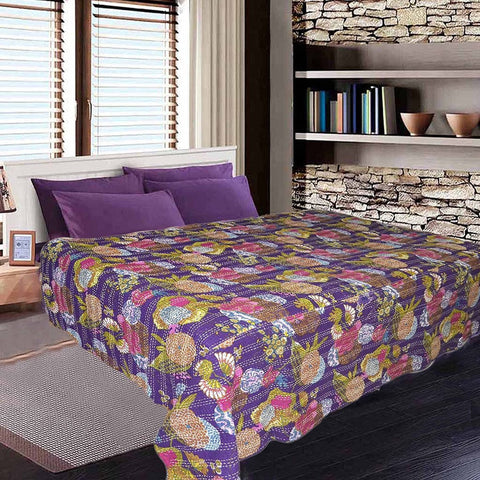purple queen kantha bedding