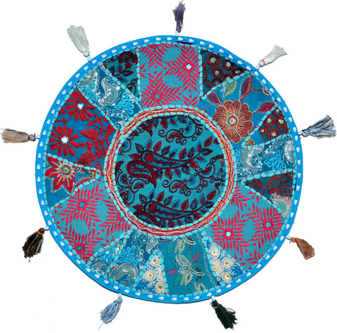 blue round floor cushion - jaipur handloom