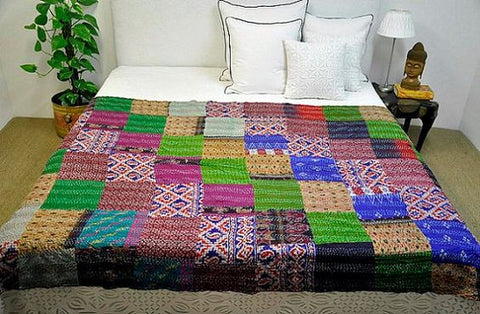 silk sari kantha throw