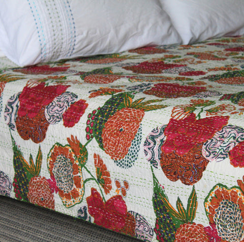 white floral kantha throw