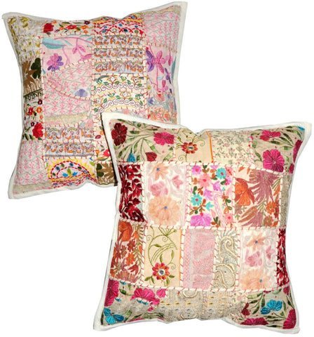 bohemian white pillows - jaipur handloom
