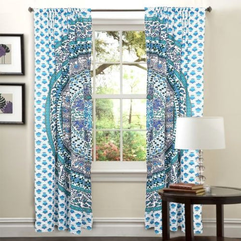 100% cotton mandala 2 panels door curtains bohemian window hanging-Jaipur Handloom