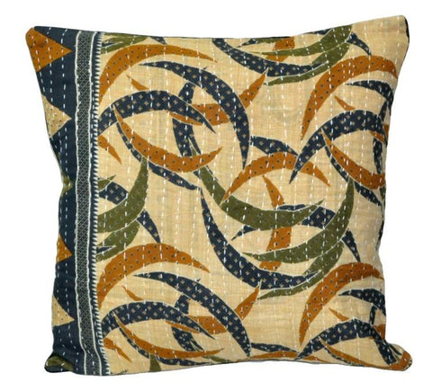 "16"" square sofa couch pillow cover bohemian kantha floor cushion - 27-S-Jaipur Handloom"