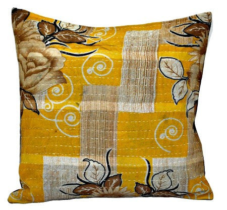 16X16 square kantha pillow for couch covers bohemian bedroom cushions - p99-Jaipur Handloom