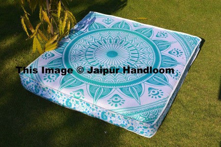 "35"" square green mandala pouf ottoman cover boho indian square floor pillows-Jaipur Handloom"