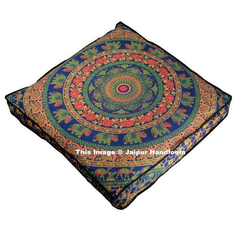"35"" square indian camel mandala floor cushions bohemian ottoman cover-Jaipur Handloom"