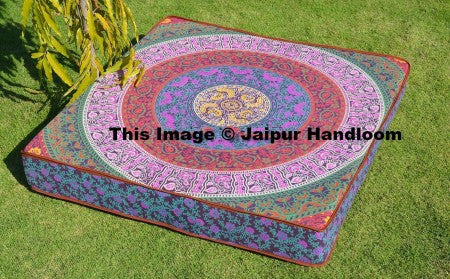 "35"" square indian mandala floor pillows bohemian Indian day dog bed-Jaipur Handloom"