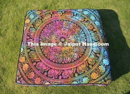 "35"" square mandala floor cushions bohemian indian pouf ottoman cover-Jaipur Handloom"