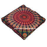 "35"" Square Mandala Tapestry Floor Pillows Summer Cushion Covers Ottoman Poufs-Jaipur Handloom"