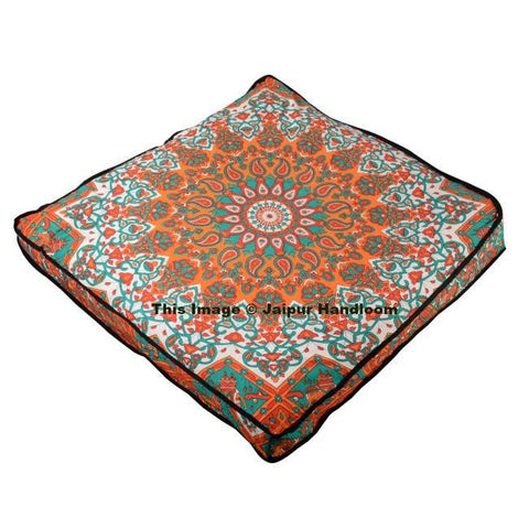 "35"" square orange mandala floor poufs XL indian cotton floor cushion-Jaipur Handloom"