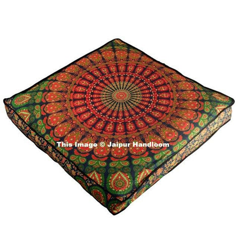 "35"" square over sized mandala floor cushion indian cotton pouf cover-Jaipur Handloom"