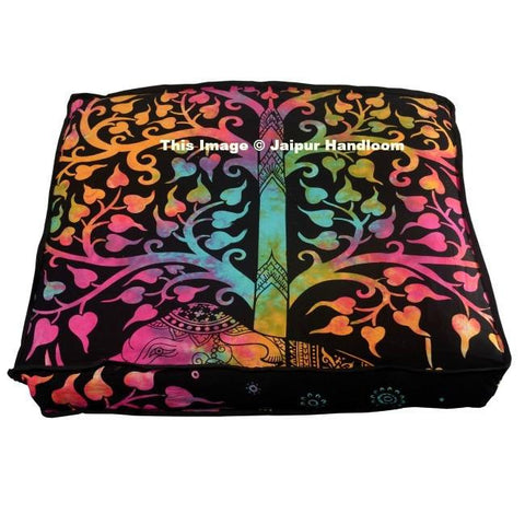 "35"" square tie dye good luck elephant floor cushions indian yoga pillows-Jaipur Handloom"
