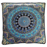 "35"" XL Elephant Mandala Floor Pillow Indian Square Ethnic Ottoman Pouf Cover-Jaipur Handloom"