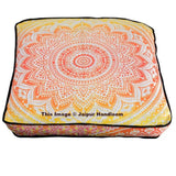 35X35 inches Ombre Mandala Ottoman Pouf Cover Indian Square Floor Pillow Cover-Jaipur Handloom