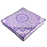 35X35 inches Square Purple Mandala Floor Pillow Indian Cotton Poufs Ottoman-Jaipur Handloom