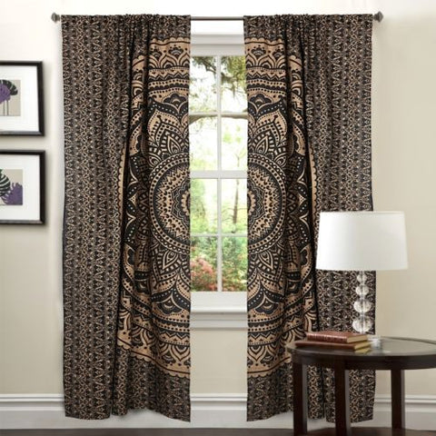 black and golden mandala door curtains indian tapestry window hanging drapes-Jaipur Handloom
