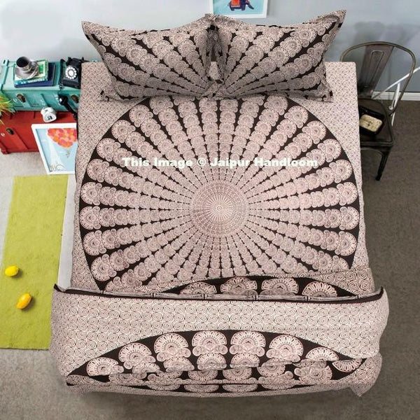 black and white mandala comforter cover set with bed cover and pillows-Jaipur Handloom