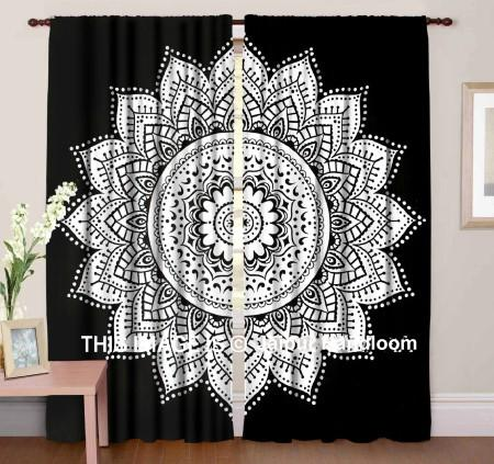 black and white mandala curtains boho bedroom window hanging-Jaipur Handloom