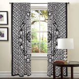 black and white mandala door curtains indian tapestry window drapes-Jaipur Handloom