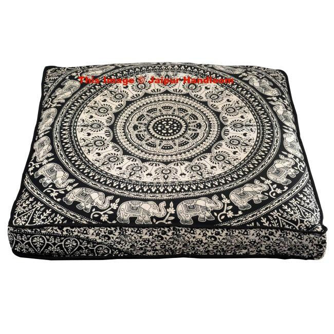 Black and white Mandala Floor Pillow Indian Square Ottoman Pouf Cover