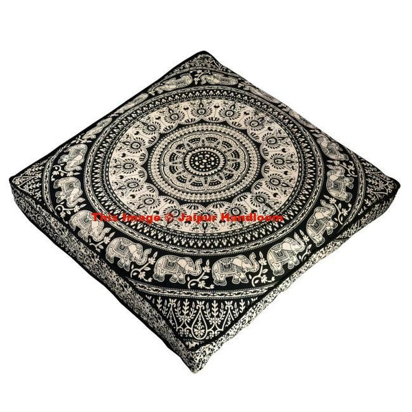 Black and white Mandala Floor Pillow Indian Square Ottoman Pouf Cover-Jaipur Handloom