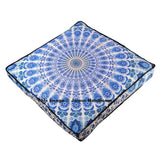 "blue and white indian mandala floor cushion 35"" square pouf cover-Jaipur Handloom"