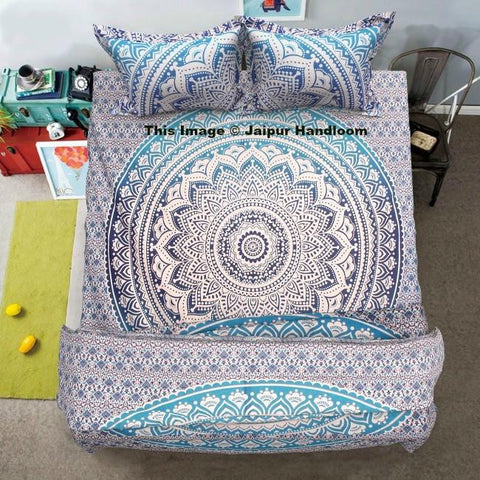 blue mandala bedding set with cotton duvet cover, bed cover and pillows-Jaipur Handloom