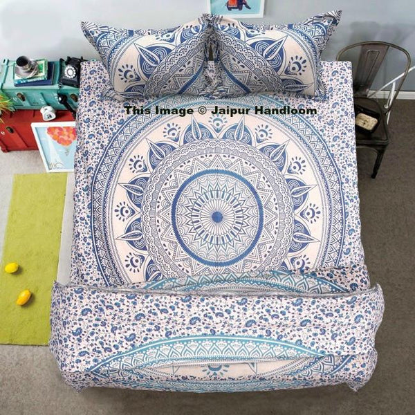 blue mandala cotton 4pc bedding set with duvet cover bed sheet and pillows-Jaipur Handloom