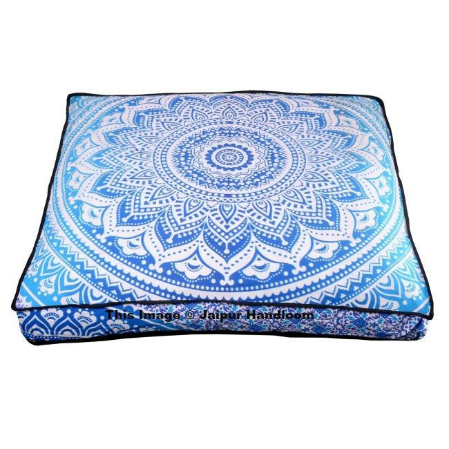 Blue Mandala Ottoman Pouf Cover Indian Ombre Square Floor Pillows