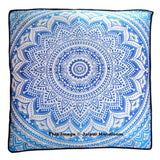 Blue Mandala Ottoman Pouf Cover Indian Ombre Square Floor Pillows-Jaipur Handloom