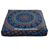 "Blue Mandala Square Floor Pillow Cover 35"" XL Mediation Floor Cushions-Jaipur Handloom"