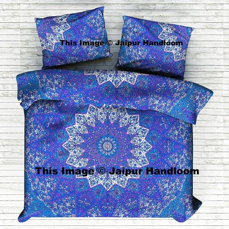 blue star mandala duvet cover with pillow cases indian cotton donna cover set-Jaipur Handloom