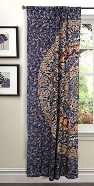 Bohemian Floral Door Curtains Boho Peacock Mandala Window