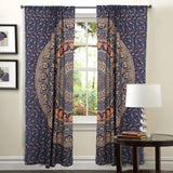 bohemian floral door curtains boho peacock mandala window hanging-Jaipur Handloom
