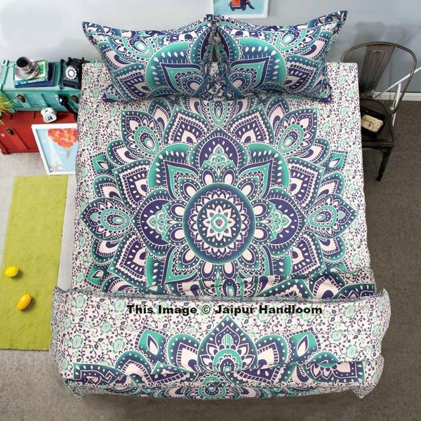 bohemian floral mandala 4pc bedding set with quilt cover bed cover and pillows-Jaipur Handloom