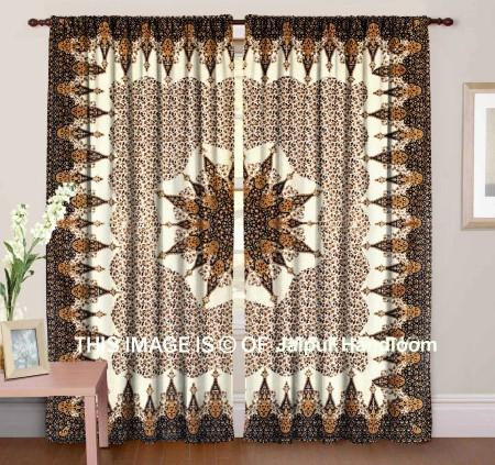 bohemian indian mandala bedroom curtains brown dorm room drapes-Jaipur Handloom