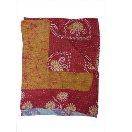 Bohemian kantha throw vintage sari hand quilted bedspread on sale-Jaipur Handloom