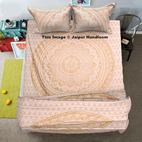 Bohemian Mandala Bedding set with duvet cover bedsheet and matching pillows-Jaipur Handloom