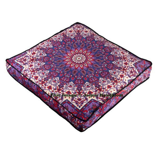 Boho Mandala Square Floor Cushion Indian Outdoor Seating
