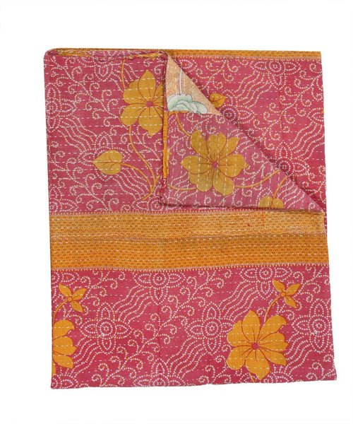 Bohemian Quilted Bedspread in Twin size Indian Sari Kantha Quilt Throw-Jaipur Handloom