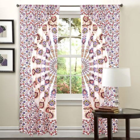 boho peacock mandala window hanging indian tapestry 2 panels door curtains-Jaipur Handloom