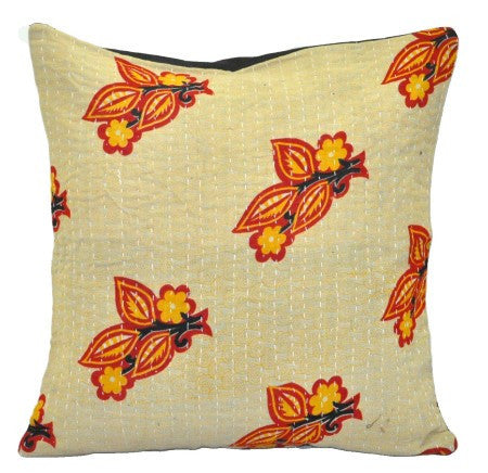 Dorm room sofa cushions bohemian dining chair kantha pillows p87-Jaipur Handloom