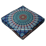 Elephant Mandala Floor Pillow Square Cushion Cover Large Ottoman Pouf Pet Bed-Jaipur Handloom