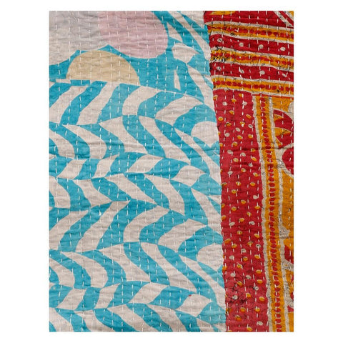 ethnic vintage sari kantha gudri 100% cotton kantha throw - AS47-Jaipur Handloom