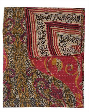 Fair Trade Kantha Throws Buy Online Vintage Sari Kantha Bed Cover-Jaipur Handloom